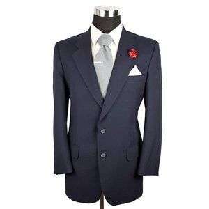 Burberry Vintage Mens Wool Blazer 42L Navy Blue